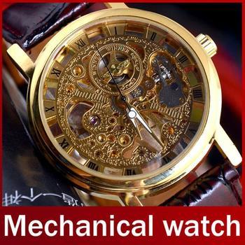 2014 новый известный бренд победитель роскошные мода свободного покроя из нержавеющей стали мужчины механические часы часы-скелетоны для мужчин платье наручные часы