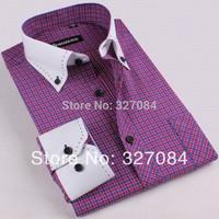 new 2015 men High quality slim fit casual shirts dress shirt For men white collar Long Sleeve cotton 4xl Free Shipping GZ03
