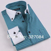 men spring 2015 Fashion Withe Collar Long Sleeve slim fit Plaid Shirts For Men Fresh Blue high quality Free shipping GZ02