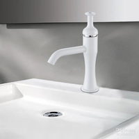 Free Shipping New Style Solid Brass Color Faucet Cold and Hot Water Tap White Color Basin Mixer Taps - Wholesale & Retail