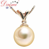 DAIMI 100% Natural Gold Pearl Pendant   Genuine18K Yellow Gold With Akoya Pearls For Women Free Shipping GRASS