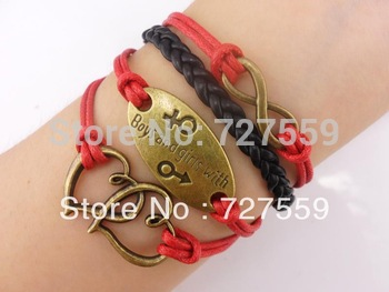 Handmade Heart Boy and Girl Antique Bronze Charms for Friendship Gift - Fashion Personalized Leather Bracelet for Girl - Red