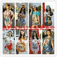 New Fashion plus size women clothing Pullover Loose half Sleeve Chiffon Shirt/ Brand Blouse Free Shipping b0d07nbu