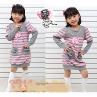 new 2013 girl's fashion autumn-summer striped dresses long sleeve dress for baby girls clothes high quality childrens clothing
