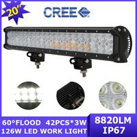 Cree Led Work light 126W 12600lm 12V/24V 4WD Off-road bar SUV ATV AWD Wagon UTV Dual row 4x4 Driving lamp Flood Beam 60 degree