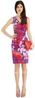 Free shipping 2014 new elegant women back V-neck floral print pleated SASUMI DRESS