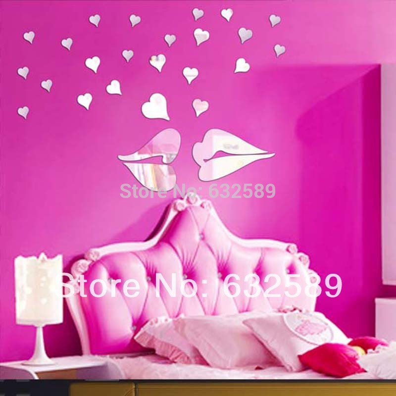 3D DIY lover kissing wall mirror sticker wall decoration 1MM thick PS plastic mirror sticker mirror home decor mirror decal(China (Mainland))