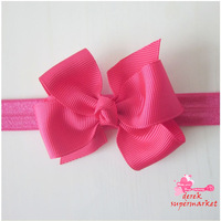 2013 New Design  Headband With Ribbon Bow Baby Elastic Headband Bow Hair Band Hair Accessory XM-91