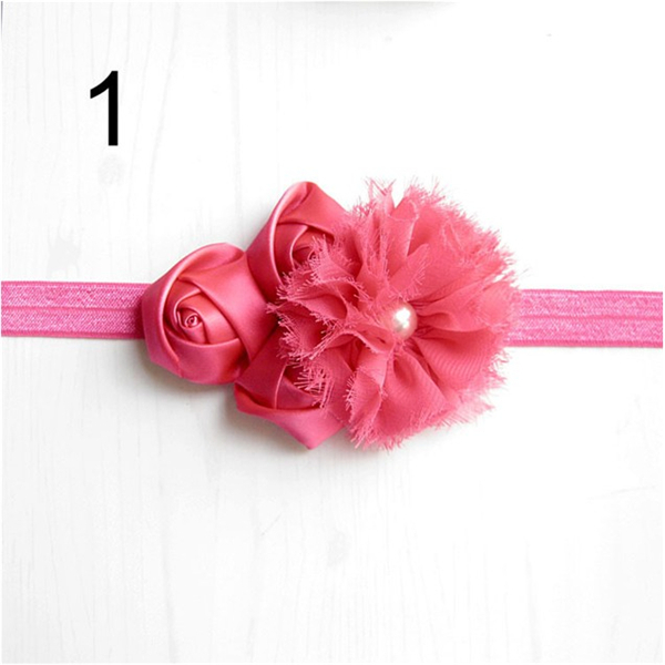 Chic Chiffon Satin Rolled Ribbon Rosette with pearl rhinestone Baby Elastic Stretch Headband Newborn Photo Prop XM-95(China (Mainland))