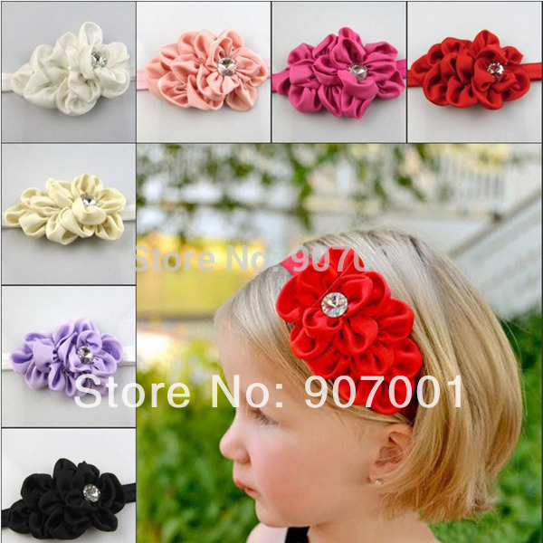 Hot Sale Quality Fabric Flowers Headband For Infant Babys Girls Kids Children Kids' Hair Accessories Baby Christmas Gift XM-107(China (Mainland))