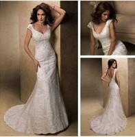 Cap Sleeve Sheath Backless Ivory Popular Design Bead Lace mermaid wedding dresses 2015