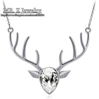 Top High Quality 2014 Fashion Austrian Crystal Jewelry The Lovely Deer Antlers Necklace For Womens Free Shipping