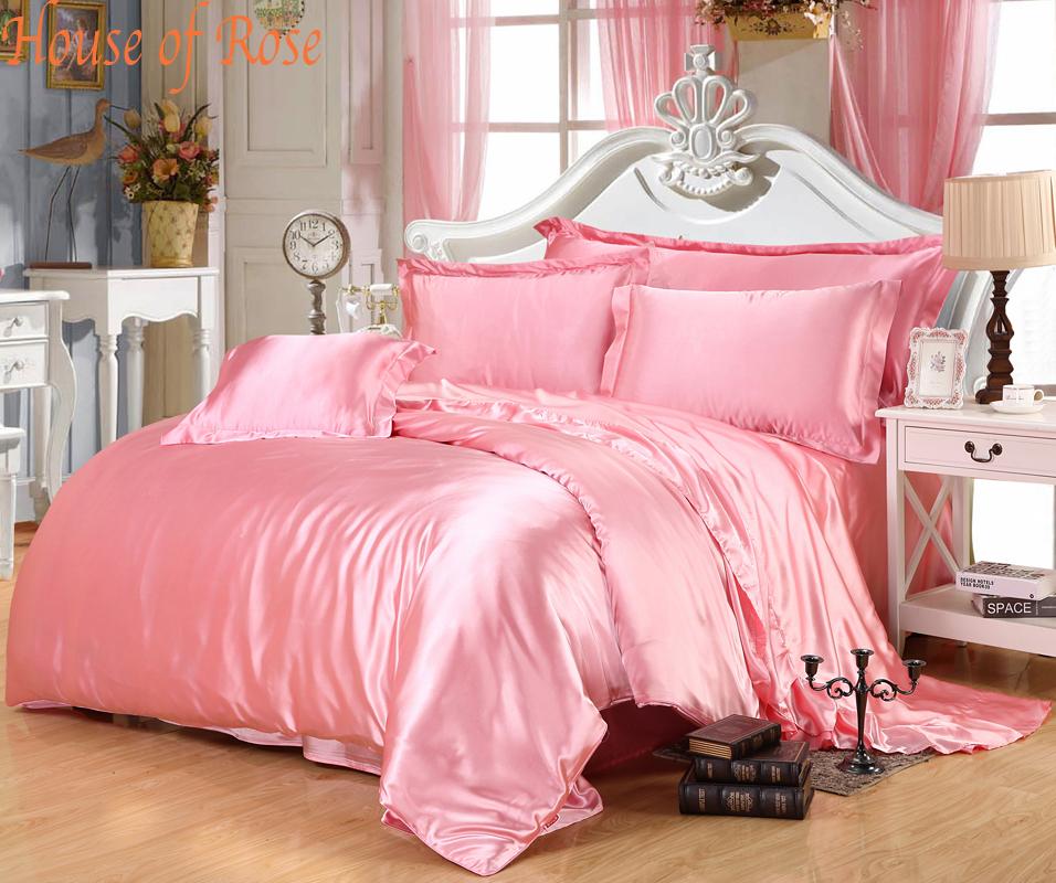 luxury light pink silk bedding sets chinese silk duvet