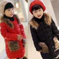 Retail New fashion fur collar child jackets coat girl winter outerwear mid-long fleece kids wadded jacket 4-12y girl down parka