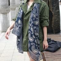 2014 silk scarf women 180*90cm twill neckerchief cotton Paisley scarves