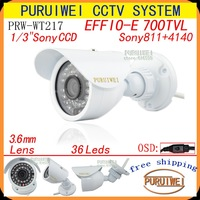 "100% Original 1/3""Sony CCD 700tvl 960H 36leds IR with OSD menu outdoor/indoor waterproof cctv camera with bracket. Free Shipping"