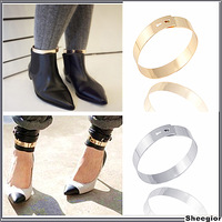 Punk Chunky Gold Silver Wide Anklets Cuff Fashion Street beat style Europe women Bangle cuff Anklets Jewelry