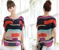 plus size  Women Striped chiffon blouse Multi-colour print shirts lady fashion Loose Short Sleeve casual  blouse