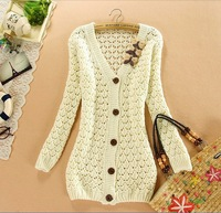 2014 Pure Color Bow Hollow Cardigans Sweater Women Crochet Knitted Blouse Long Sleeve V-neck Female Sweater Jackets tricotado
