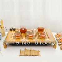 High quality bamboo tea board + glass tea set + porcelain caddy, exquisite bamboo tea tray, new style household tea sets