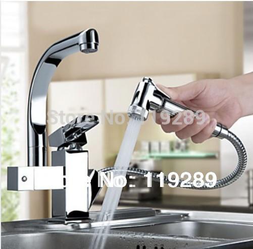 Livraison gratuite torneira cozinha. Chrome poli laiton double becs 360 degree& sortir robinet de cuisine. évier de cuisine robinet mélangeur
