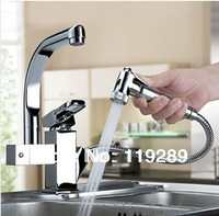 Free Shipping Torneira Cozinha.Polished Chrome Brass Double Spouts 360 Degree&Pull Out Kitchen Faucet.kitchen sink mixer tap