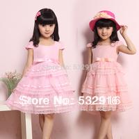 2014 New Baby Girls Dress Layered Wedding & Party Dress Girls Gorgeous Princess Dress Fashion Kids Girls Lace Summer Dress