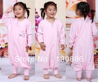 2014 children's pajamas sets plus size rompers baby girl o-neck long sleeve zip-up romper baby sleep sack 100% cotton knitted