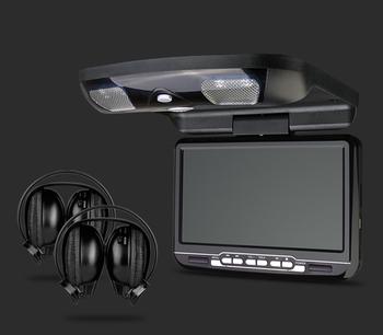 "1x9"" Car Roof Mounted DVD Player Ceiling DVD Flip Down Monitor 800*480, Game, DVD/USB/SD, IR/FM transmitter+2pcs IR headphones"