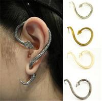 Free shipping lovely punk small black snake twist stud earring Unilateral ear hook snake earrings Min order is $5(mix order)