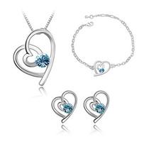 Wholesale 18K white gold plated fashion austrian crystal necklace/earring/bracelet fashion jewelry set