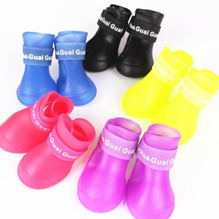 Free Shipping Lefdy News DOG BOOTS Waterproof Protective Rubber Pet Rain Shoes Booties of Candy Colors(China (Mainland))