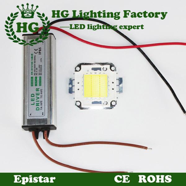Un 10w 20w 30w 50w 100w cob puissance élevée led lumière d'inondation de led puce puce + une alimentation conduit projecteur à led driver