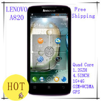 free shipping  Original Lenovo A820 phone Quad-core CPU 4GB ROM 1GB RAM 8.0M Camera 56 language black white