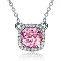 Wholesale 1.0 ct 3 colors pendant plated 14K white gold princess cut pendant synthetic Diamond Pendant silver sterling necklace