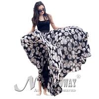 Chiffon summer spring maxi skirts womens long new 2015 fashion elastic high waist floor-length floral leopard print casual skirt