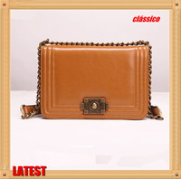 Chinese Production Real High Quality Leather Retro Classic Brand Women's Chain Crossbody Messenger Bag Satchel Bags Wholesale