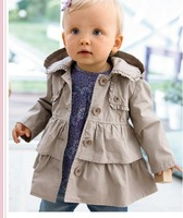 Retail 1 PCS 2013 Spring/Autumn Baby Girls solid Hoodies Jackets Layered Reffles Fashion long dress coat for Kids Toddler