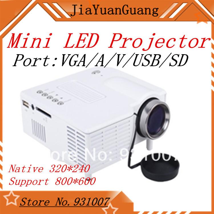 Factory Wholesale new 2013 UC 28 mini LED projector VGA/A/V/USB/SD Native AV LCD Digital Projector English, Korean, Russian(China (Mainland))