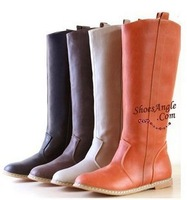Free Shipping boots for women  faux leather flat boots for winter  pu boots 4 colors plus size XWX112