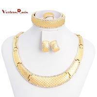WesternRain Popular Women Necklace earrings jewelry set  Rhinestone Bride Party Fashion Wedding Dubai Jewelry,Free Shipping