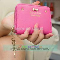 100pcs/lot Fashion Ladies Solid Color Wallet Candy Colors Girl Zipper Bowknot  Pendant Pu Leather Purse Excellent Seller