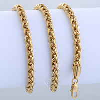 Gold Filled 3/4/5MM Mens Chain Necklace Wheat Chain Necklace Fashion GF High Quality Jewelry Hot Sale Gift LGNM37