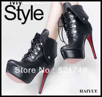 2013 New  Female Autumn And Winter   Leather  Martin Boots Fashion Platform High-Heeled Shoes For Women's