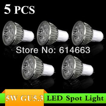 5pcs/lot High Power LED Lamp quality assurance GU 5.3 white/warm white LED Light Lamp Bulb Spotlight 5W LED Lamp Drop Shipping