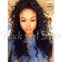 Fashion curly100 human hair wigs for african americans, glueless lace front wig with clips and straps middle part freeshipping