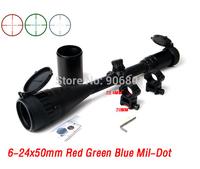 Hunting Rifle Scope 6-24x50 Red Green Blue Dot Cross Optic Scope Sight Riflescope 20mm Picatinny Rail Weaver Mount