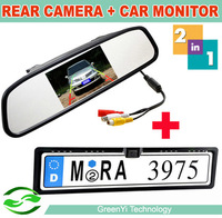 Free shipping, 2 in 1 EU Russia Car License Plate Frame Rear View Rearview Camera + 4.3 Inch Auto Mirror Dispaly Monitor