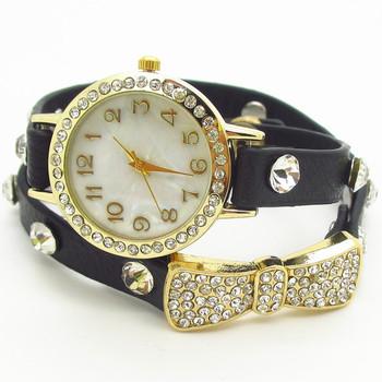 2013 new fashion wrap around bracelet watch,bowknot crystal imitation leather chain women's quartz wrist watches wholesale,SB047