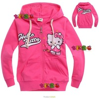 Hot Sale!New 2013 Baby Girls Cartoon Hello Kitty Red Hoodies/Jackets/Coats,Children Outerwear in stock